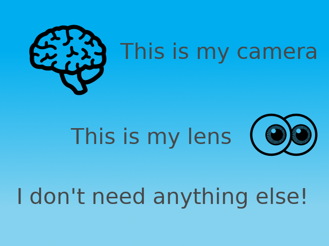 My Brain is my camera, my eyes are my lens. I don't need anything else!